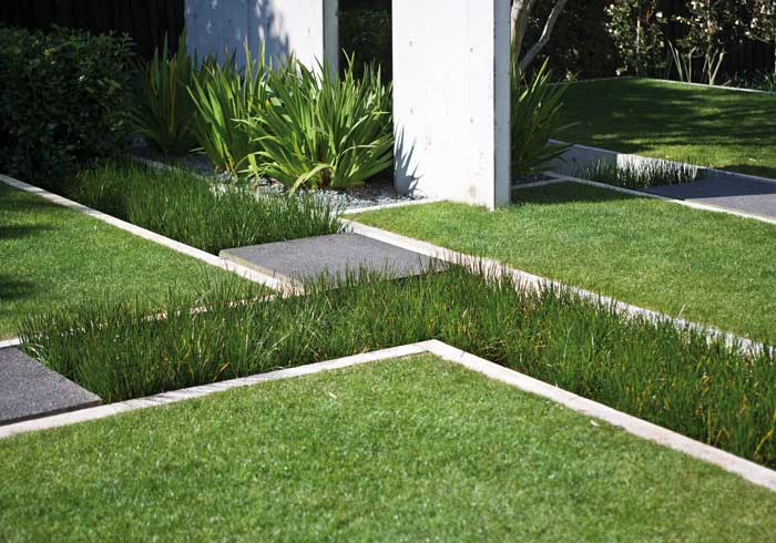 Planted channels emphasize the ground plane design.