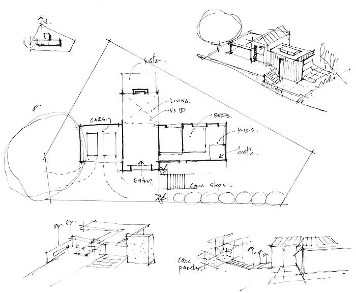 Sketch design: Passive Design orientates a house to capture the sun's heat in its thermal mass.