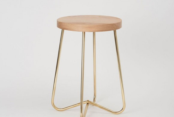 Cross Brass Stool by Douglas and Bec