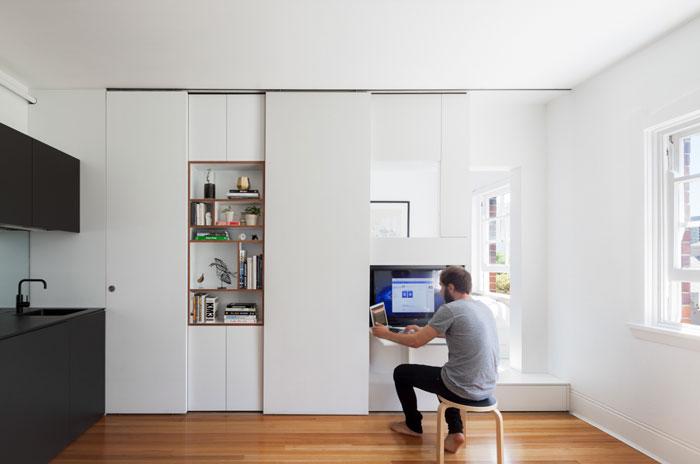 Small apartment ideas - storage wall