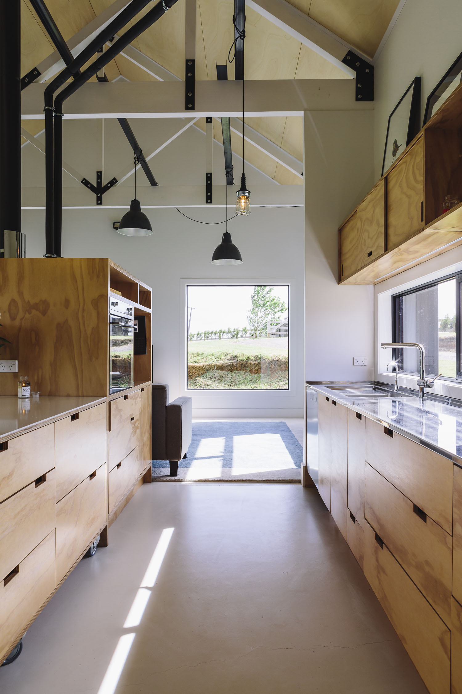Red Architecture Plywood Barn Kitchen