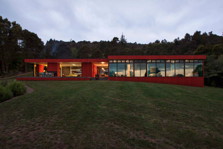 Pattersons modern house amidst NZ bush