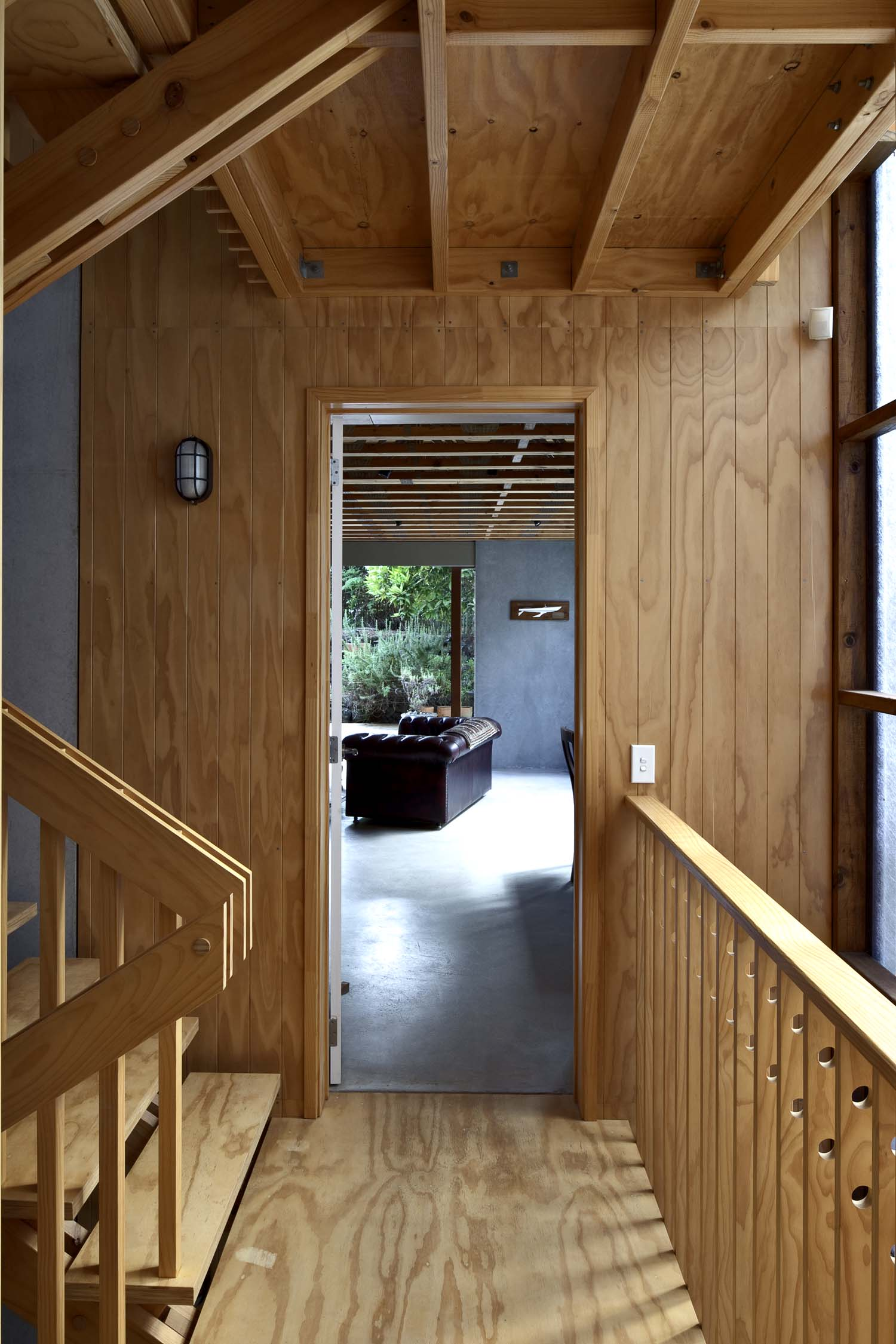 Megan Rule suburban house hoop-pine plywood and timber in stairwell